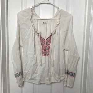 Hollister White Flowy Tribal Blouse / Shirt